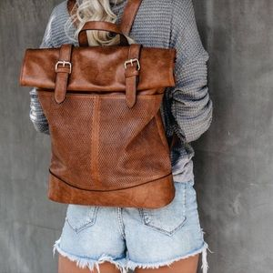 Laser Cut Brown Faux Leather Backpack